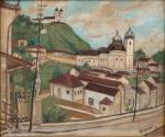Alberto da Veiga Guignard (1896-1962) - Ouro Preto - Óleo sobre madeira - 38 x 46 cm - Assinado e datado embaixo à direita - 1959