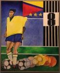 Aldemir Martins (1922-2006) - Jogador de futebol - Óleo sobre tela - 120 x 100 - 1986