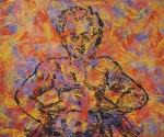 Alex Flemming (1954) - Cariatude - Acrilica sobre tela - 100 x 120 cm - Assinado e datado - 1987