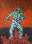 Alex Flemming (1954) - A Astúcia - Acrilica sobre tela - 190 x 140 cm - Assinado e datado - 1987