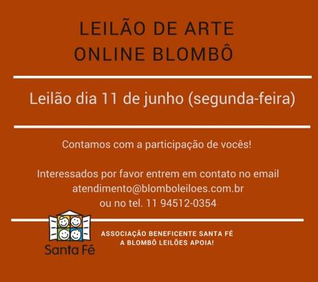 1º LEILÃO DE ARTE ONLINE - BLOMBÔ - 11/06/2018