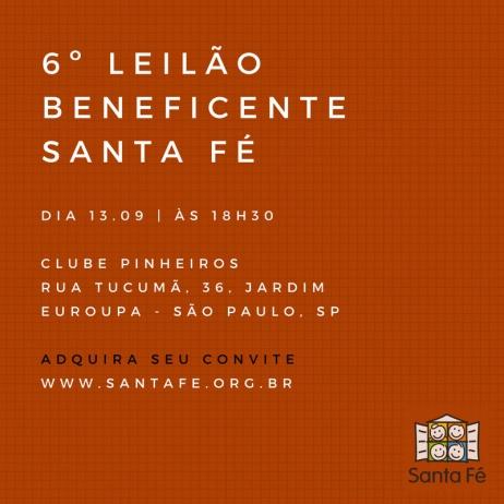 6º LEILÃO BENEFICENTE SANTA FÉ - BLOMBÔ - 13/09/2018